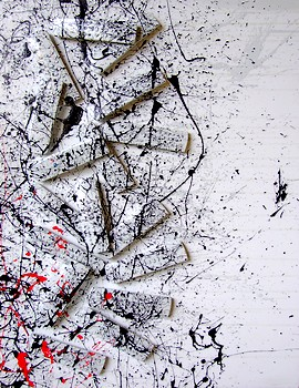 ACCUMULATION ON CANVAS WITH REMOTE CONTROLS AND RED ACRILIC COLORS