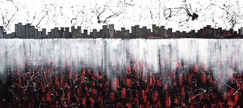 MODERN PAINTING OF LARGE SIZE ENTITLED DREAMING NEW YORK WITH A RED SKYSCRAPERS
